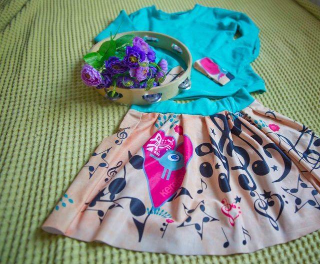 Music T shirt & Dress Kerefeke Girl's Set