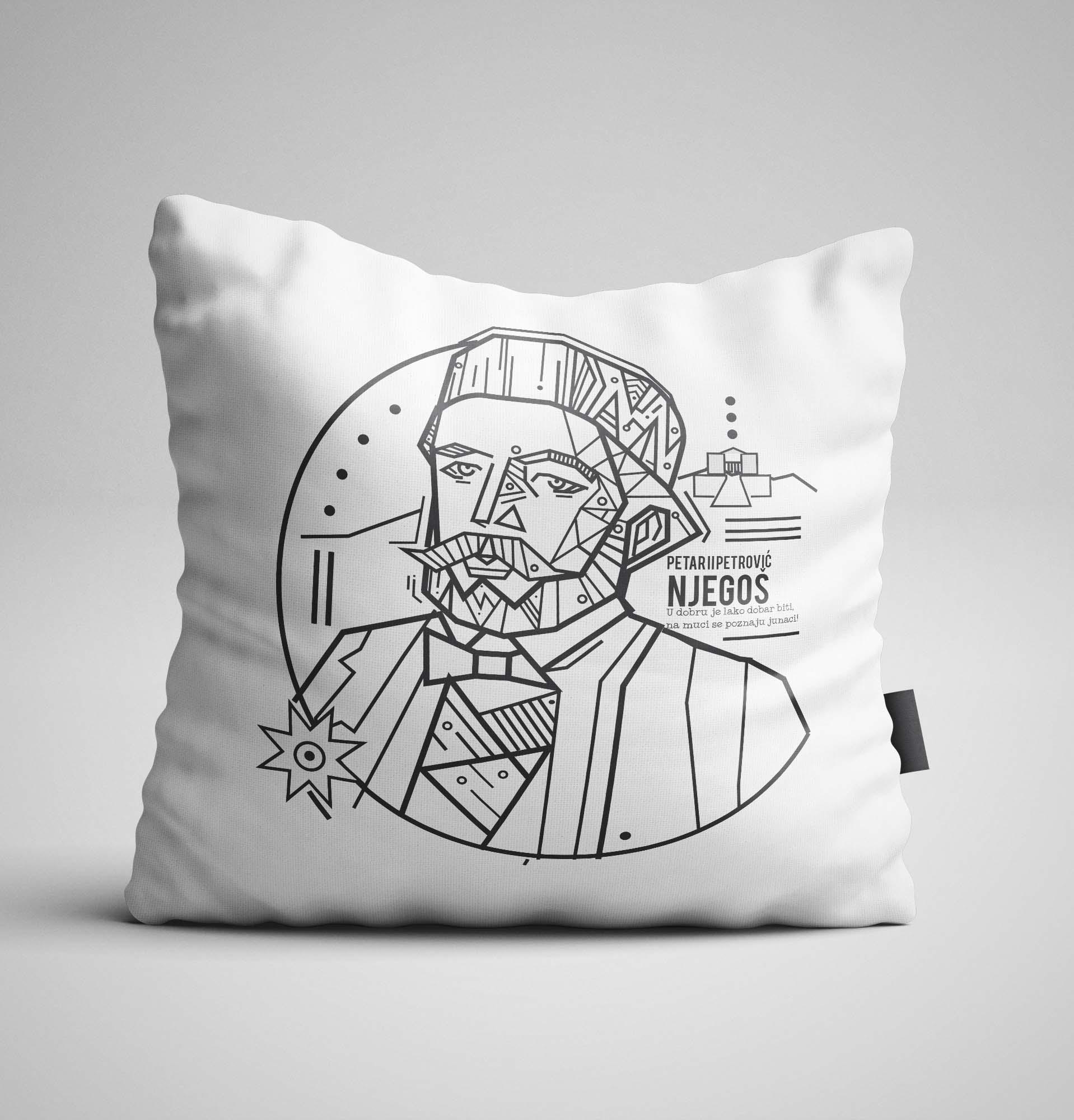 Dekorativni jastuk sa Njegošem i Lovćenom dizajn Kerefeke